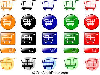 carro de compras, iconos