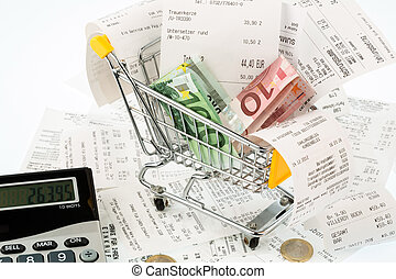 carro de compras, recibos, y, dinero