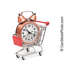 carro de compras, reloj