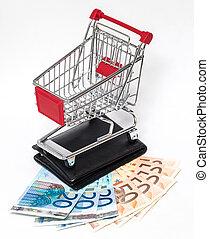 carro de compras, y, billetera, aislado