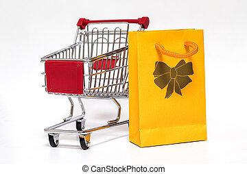 carro de compras, y, bolsa