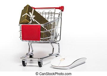 carro de compras, y, regalo