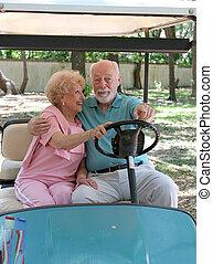 carro del golf, -, asiento trasero, conducción