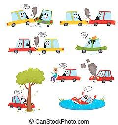 carro engraçado, caráteres, -, acidente, choque, colisão