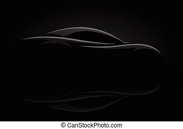 carro esportes, conceito, silueta, veículo