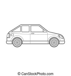 carro hatchback, estilo, corporal, ilustração, esboço, ícone