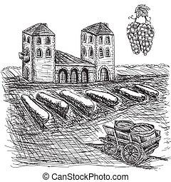 carro, image., 10, fattoria, eps, vettore, vigne, grapes., barile, agricoltura