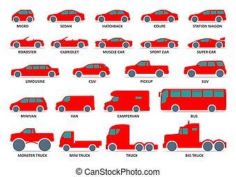 carro modelo, vetorial, automobile., tipo, pretas, set., ilustração, ícones