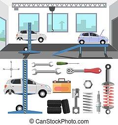 carro., pneu, serviço, centro
