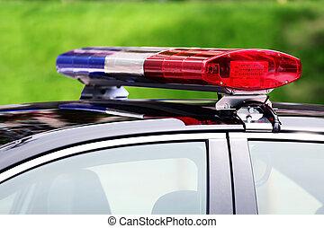 carro polícia, com, sirena, luz, closeup