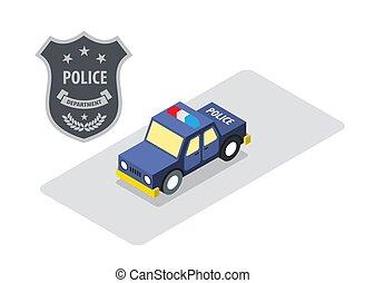 carro polícia, emblema, isometric, vetorial