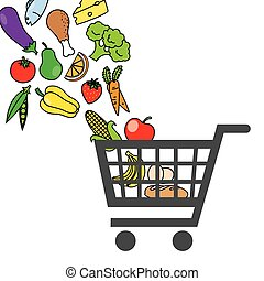 carro shopping, com, alimento