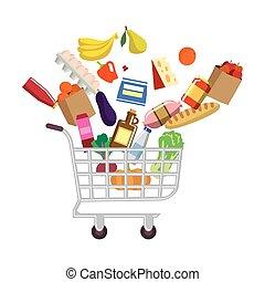 carro shopping, com, compras