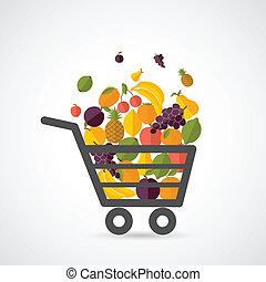 carro shopping, com, frutas