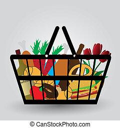 carro shopping, com, gêneros alimentícios, ícones, eps10