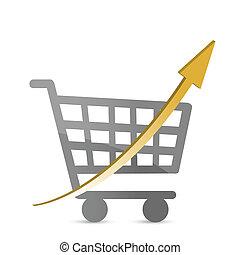 carro shopping, com, um, seta