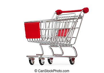 carro shopping, contra, a, fundo branco