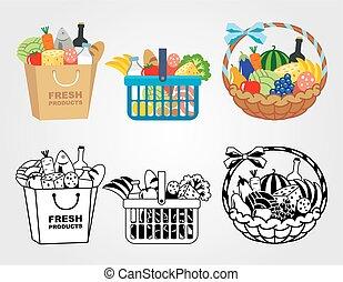 carro shopping, enchido, com, alimento
