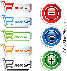 carro shopping, item, adicionar, vetorial, apagar