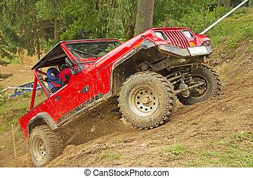 carro vermelho, em, terreno