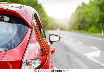 carro vermelho, ligado, a, road.