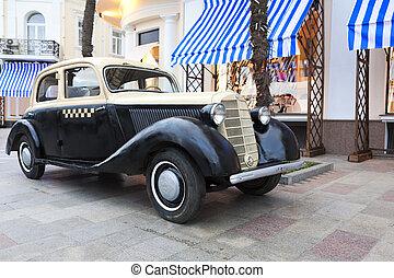 carro vintage, ligado, a, dique, em, ya