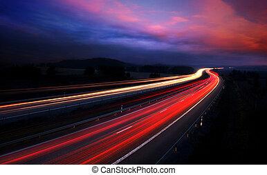 carros, à noite, com, movimento, blur.