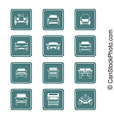 carros, ícones, |, teal, série
