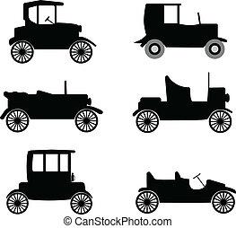 carros, antigas, cronômetro, ilustração