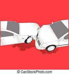 carros, cabeça, golpe, dois