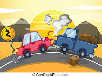 carros, colidir, dois, estrada, meio