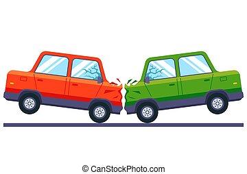 carros, colisão, track., head-on