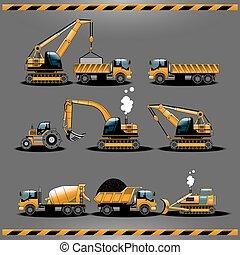 carros, construção, vetorial, jogo, ícone