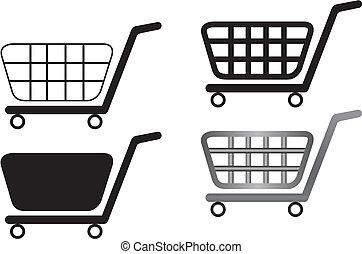 carros de compras, aislado, ilustración, vector, plano de fondo, blanco