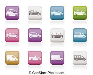 carros, diferente, tipos, ícones