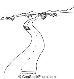 carros, esboço, estrada