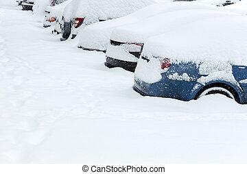 carros, fila, estacionado, neve, sob