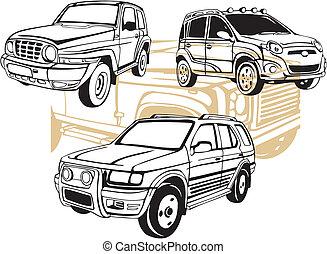 carros, fora-estrada, vetorial, -, set.