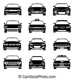 carros, frente, vista, pretas, vetorial, ícones