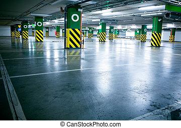 carros, garagem, subterrâneo, sem, estacionamento, interior
