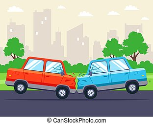 carros, head-on, dois, collided, highway.
