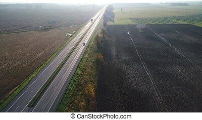 carros, ir, aéreo, rodovia, vista
