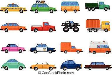 carros, jogo, ícones