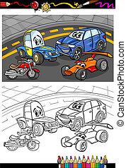 carros, livro, coloração, caricatura