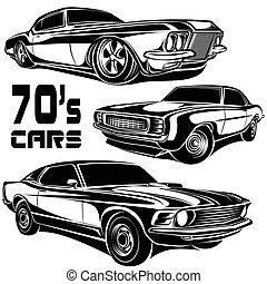 carros, músculo, 70s
