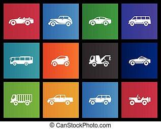 carros, -, metro, ícones