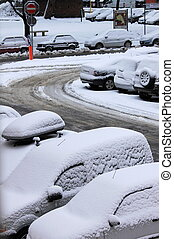 carros, neve, sob
