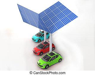 carros, painel solar