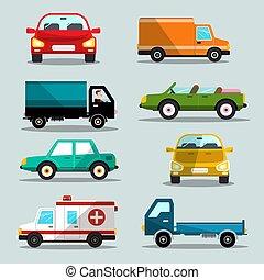 carros, set., vetorial, icons., car