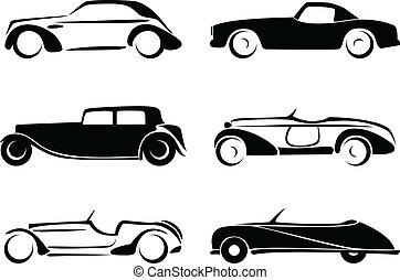 carros, silhuetas, jogo, antigas, vector.